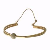 Браслет-обруч с матированным Шариком, застежка с цепочкой, комбинированное золото 6мм