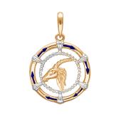 Подвеска знак зодиака Козерог с эмалью из красного золота 585 пробы