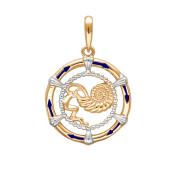 Подвеска знак зодиака Водолей с эмалью из красного золота 585 пробы