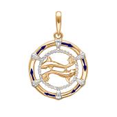 Подвеска знак зодиака Рыбы с эмалью из красного золота 585 пробы