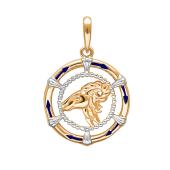 Подвеска знак зодиака Овен с эмалью из красного золота 585 пробы