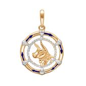 Подвеска знак зодиака Телец с эмалью из красного золота 585 пробы
