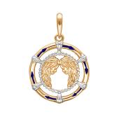 Подвеска знак зодиака Близнецы с эмалью из красного золота 585 пробы
