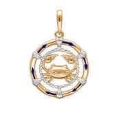 Подвеска знак зодиака Рак с эмалью из красного золота 585 пробы