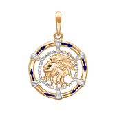 Подвеска знак зодиака Лев с эмалью из красного золота 585 пробы