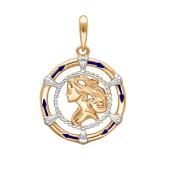 Подвеска знак зодиака Дева с эмалью из красного золота 585 пробы