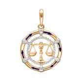 Подвеска знак зодиака Весы с эмалью из красного золота 585 пробы