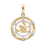 Подвеска Скорпион из красного золота 585 пробы