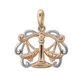 Подвеска знак зодиака Весы из красного золота 585 пробы