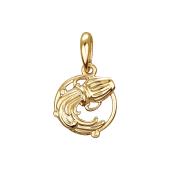 Подвеска знак зодиака Водолей из красного золота 585 пробы