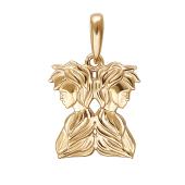 Подвеска знак зодиака Близнецы из красного золота 585 пробы