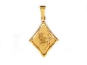 "Кулон, знак зодиака ""Телец"", телец в ромбе с алмазной огранкой, красное золото"