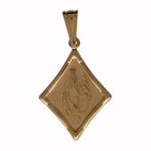 Кулон Рак, ромб с лазерной гравировкой, красное золото