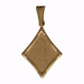 Кулон Скорпион, ромб с лазерной гравировкой, красное золото