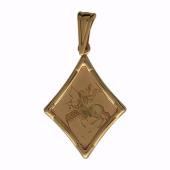 Кулон Стрелец, ромб с лазерной гравировкой, красное золото