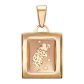 """Кулон, знак зодиака """"Овен"""", овен в выпуклом квадрате с алмазной гранью, красное золото"""