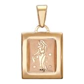 """""""Дева"""" Красное золото, 585 проба гравировка в прямоугольной форме с бортами"""
