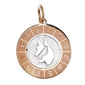 Кулон Телец в круге со знаками зодиака, красное золото