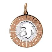 Кулон Лев в круге со знаками зодиака, красное золото