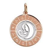 Кулон Дева в круге со знаками зодиака, красное золото
