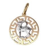 Кулон Козерог в круге с греческим рисунком, красное и белое золото 2см