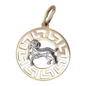 "Кулон, знак зодиака ""Овен"", овен в круге с греческим рисунком, красное золото"