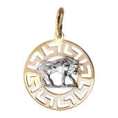 Кулон знак зодиака Телец, телец в круге с греческим рисунком, красное золото