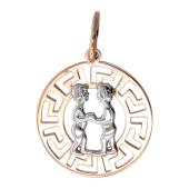 """Кулон знак зодиака """"Близнецы"""" в круге с греческим рисунком, красное золото"""