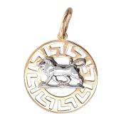 Кулон знак зодиака Лев в круге с греческим рисунком, красное золото 585 проба