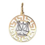Кулон Весы в круге с греческим рисунком, красное и белое золото 2см
