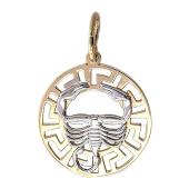 """""""Скорпион"""" комбинированное золото, 585 проба, скорпион в круге, греческий рисунок"""