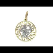 Кулон Стрелец круглый с греческим рисунком, желтое и белое золото