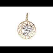 Кулон Стрелец в круге с греческим рисунком, красное и белое золото 2см