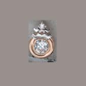 Подвеска Знак зодиака Водолей с круглым фианитом из золота 585 пробы