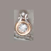 Подвеска Подвеска Знак зодиака Рыбы с круглым фианитом из красное золото 585 пробы