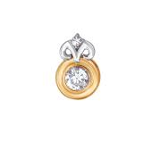 Подвеска Знак зодиака Овен с круглым фианитом из красного золота 585 пробы