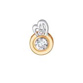 Подвеска Знак зодиака Дева с круглым фианитом из красного золота 585 пробы