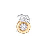 Подвеска Знак зодиака Скорпион с круглым фианитом из красного золота 585 пробы