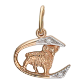 Кулон, знак зодиака Овен, овен на дуге с треугольниками и фианитами, красное золото