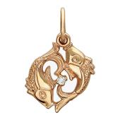 Подвеска знак зодиака Рыбы с фианитом, красное золото 585 пробы