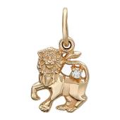 Кулон Лев, Фигура льва, вставка: фианит (1шт), красное золото 585 проба