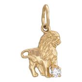 Кулон Лев, красное золото, 585 проба, Фигура льва, вставка: фианит (1шт)
