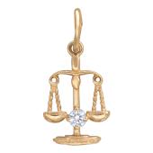 Кулон знак зодиака Весы, красное  золото, 585 проба с фианитом снизу