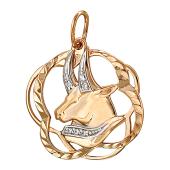 Кулон Знак Зодиака Телец с фианитами, красное золото