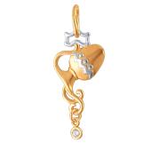Знак Зодиака Водолей из красного золота с фианитами