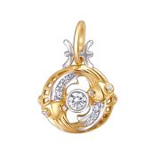 Знак Зодиака Рыбы из красного золота с фианитами