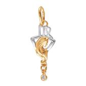 Знак Зодиака Дева из красного золота с фианитами