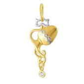 Знак Зодиака Водолей из желтого золота с фианитами
