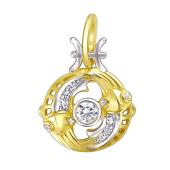 Знак Зодиака Рыбы из желтого золота с фианитами