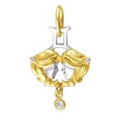 Знак Зодиака Близнецы из желтого золота с фианитами